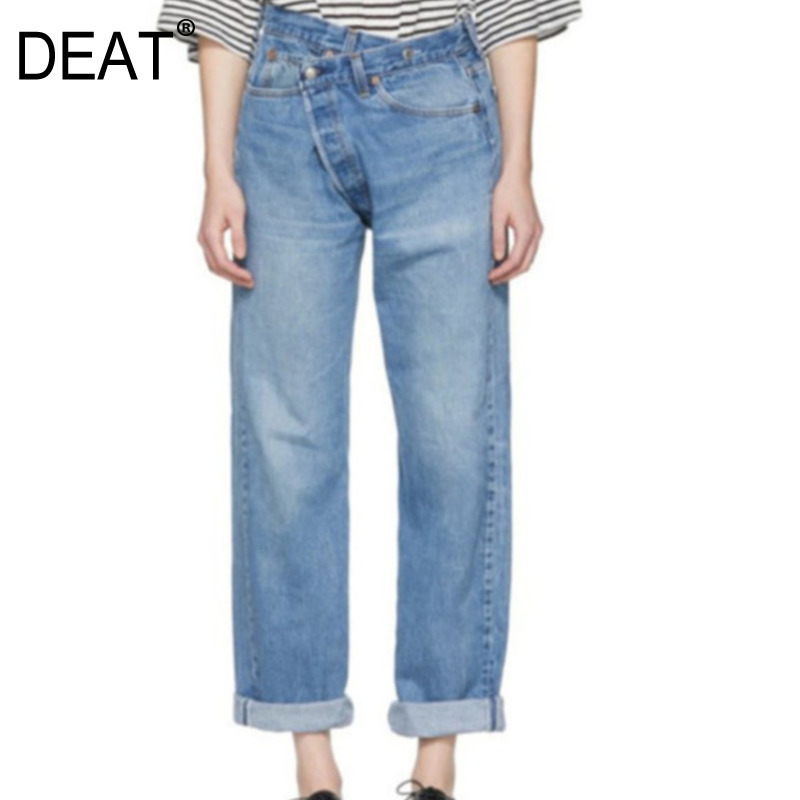 DEAT 2020 Autumn New Irregular Old Multi-pocket Buckled Wash Trend Jeans WI131