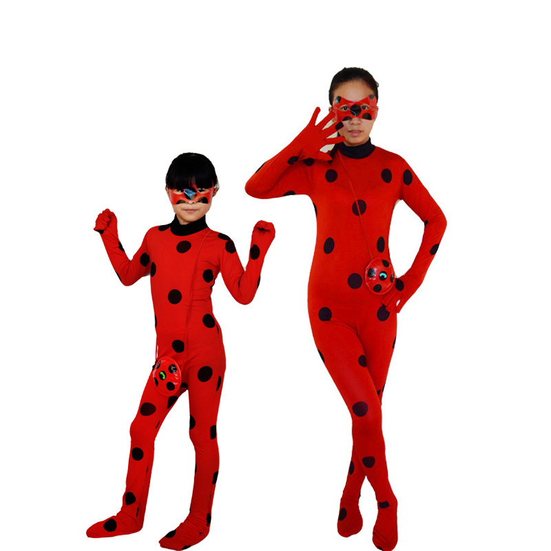 kids Halloween Girls Miraculous Ladybug Child Clothing Sets Anime Cosplay Costumes Women Adult Spandex Full Lycra Zentai Suit