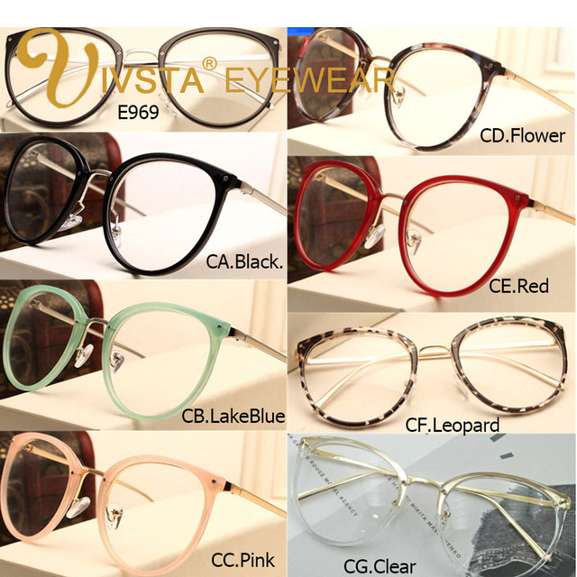 IVSTA Vintage Prescription Optical Eyeglasses Frame Myopia Round Metal Women Spectacles Sunglasses Cat Eye eyewear Pink lenses