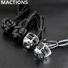 """Motocykl 1 """"25mm kierownica przełącznik sterowania + kable w wiązce czarny/chrom dla miękka końcówka harley Sportster v rod dla Dyna 1996 2012"""