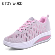 E TOY WORD 2019 Spring Breathable Mesh womens casual shoes fashion Platform Sneakers women height increasing rocking shoes women akexiya women breathable mesh lace up casual platforms shoes height increasing rocking shoes sports wedge sneakers
