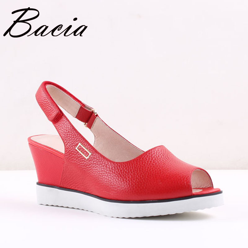ФОТО Bacia Big Size 34-43 Summer Women Genuine Leather Sandals Ladies RED BLACK Ankle Strap Fashion Wedges Casual Platforms SA041