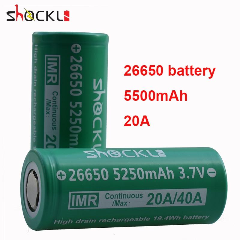 Аккумуляторная батарея Shockli 26650, 5250 мАч, 3,7 В, литий-ионный аккумулятор 30A 40A 26650, литиевая батарея для фонариков высокой мощности, фонарь