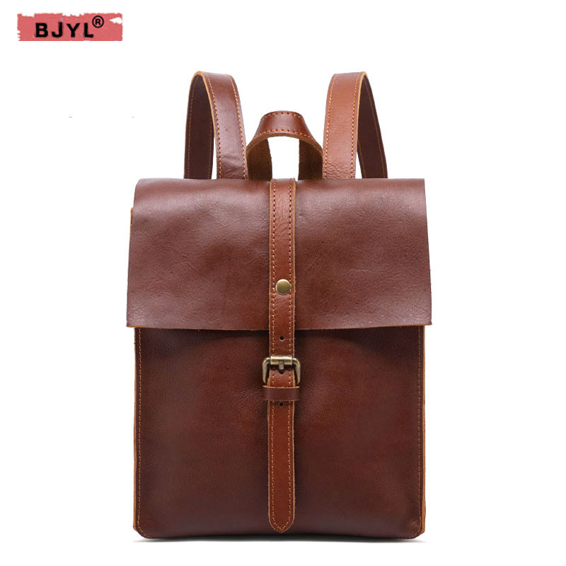 BJYL New Genuine leather Women backpack retro college wind lady shoulder bag first layer leather girl backpack travel Bags new 2016 women backpack genuine leather fashion bag backpack women leisure college wind cowhide backpack girl school