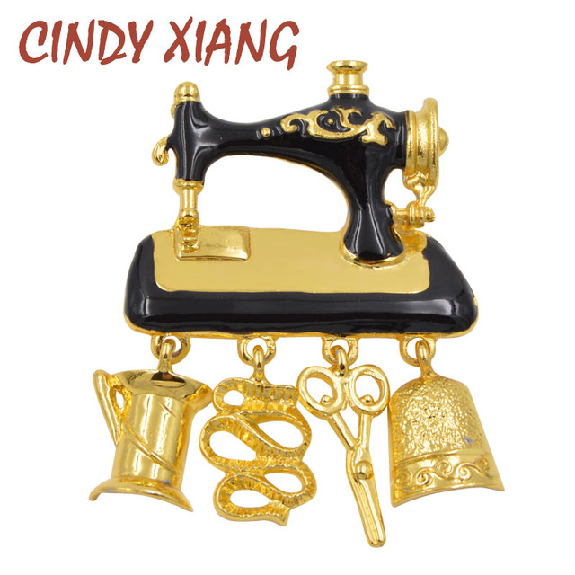 CINDY XIANG New Arrival 2018 Black Enamel Sewing Machine Brooches for Women Fash