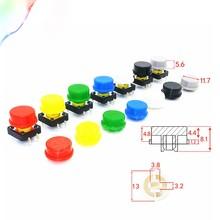 50 jogos táteis redondos dos dos tampões do botão da compra dos pces 9.58*5.1mm para 12*12*7.3mm micro interruptor do tato para arduino