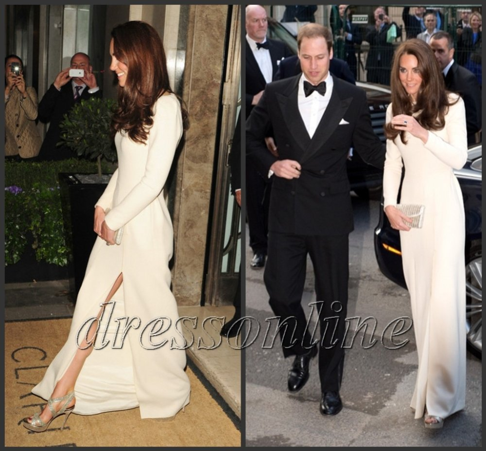 Kate Middleton Ivory Gown with Thigh high split Eveing Prom Gowns ...