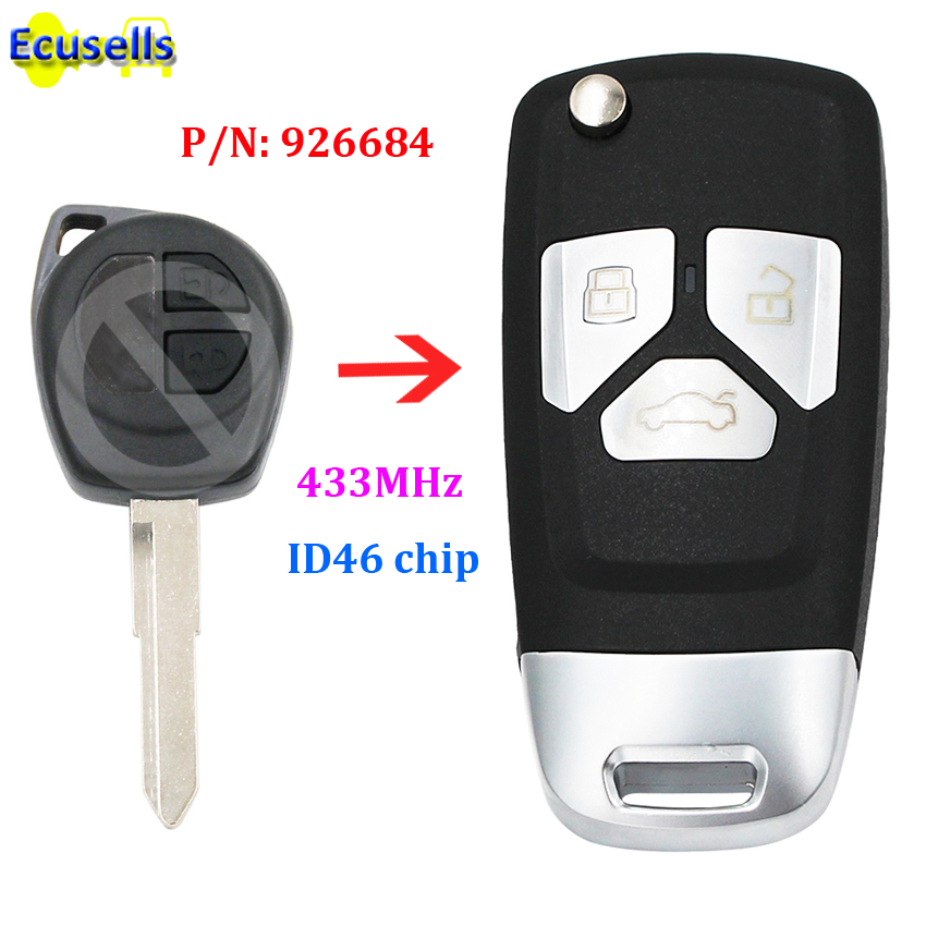 Upgraded Flip Remote Key Fob 433MHz ID46 Chip For Suzuki Swift Grand Vitara Before 2008 PN: 926684 With Uncut HU87 Blade