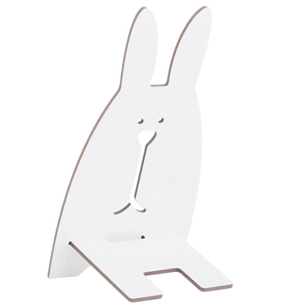 Lovely Table Decor Cute Wooden Rabbit Universal Phone Holder Stand Mount