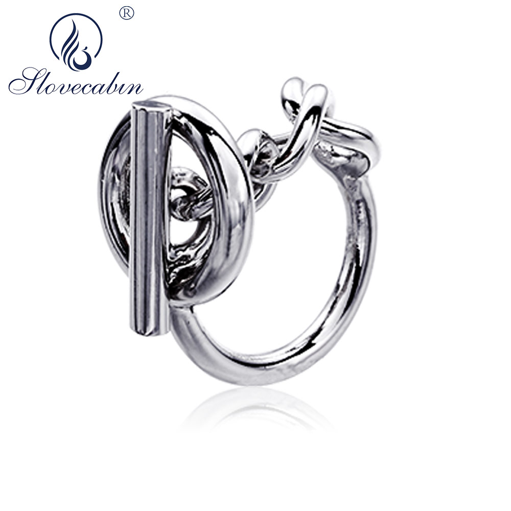 Slovecabin Vintage Men Jewelry Authentic 925 Sterling Silver Lock Wedding Rings bague Femme Marage Argent Rings For Women slovecabin real 925 sterling silver link chain lock finger rings for women vintage napkin wedding rings for women bijoux female