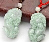 Livraison gratuite 004317 Une paire main-sculpté naturel laboratoire pierre fine pendentif-Courageux soldats-collier