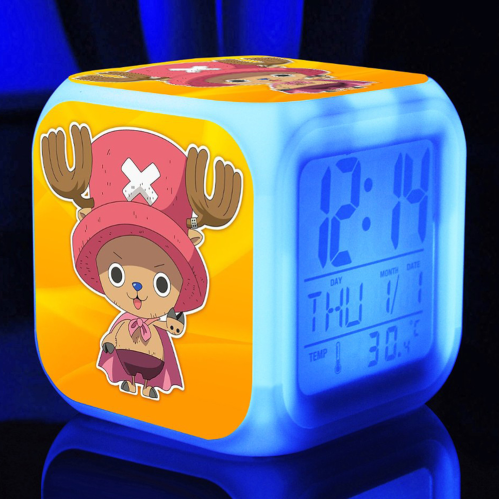 ONE PIECE Straw hat pirates Alarm Clocks,Color changing Monkey D Luffy Alarm Clocks For kids Gift Multifunction alarm clocks