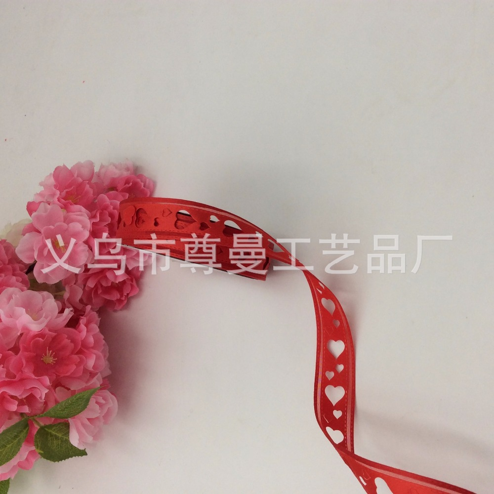 Double Heart Ribbon 2 2cm Wide Big Heart Two Careful Craft Edging Belt Classic Clothing Home Decoration Accessories Poly in Webbing from Home Garden