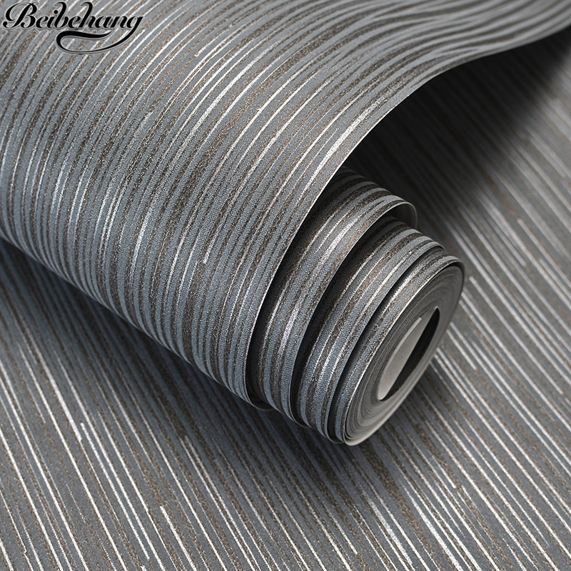 beibehang Contemporary and contracted wind plain non-woven living room TV setting wall paper gray pinstripe bedroom wall paper 2016 new best selling the sitting room tv setting wall paper pure pigment color contracted stripe wall paper non woven bedroom