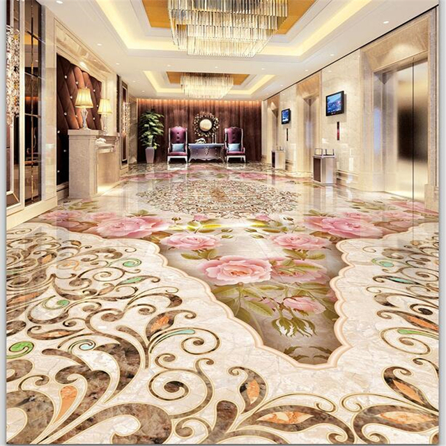 Beibehang Custom Floor Decoration Painting 3D Self Stick Stone Pattern Parquet Marble Texture Tiles