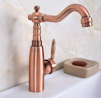 Antique Red Copper Brass Single Handle One Hole Bathroom Kitchen Basin Sink Faucet Mixer Tap Swivel Spout Deck Mounted mnf630 antique brass bathroom basin faucet waterfall spout vanity sink mixer tap single handle one hole deck mounted kd1270
