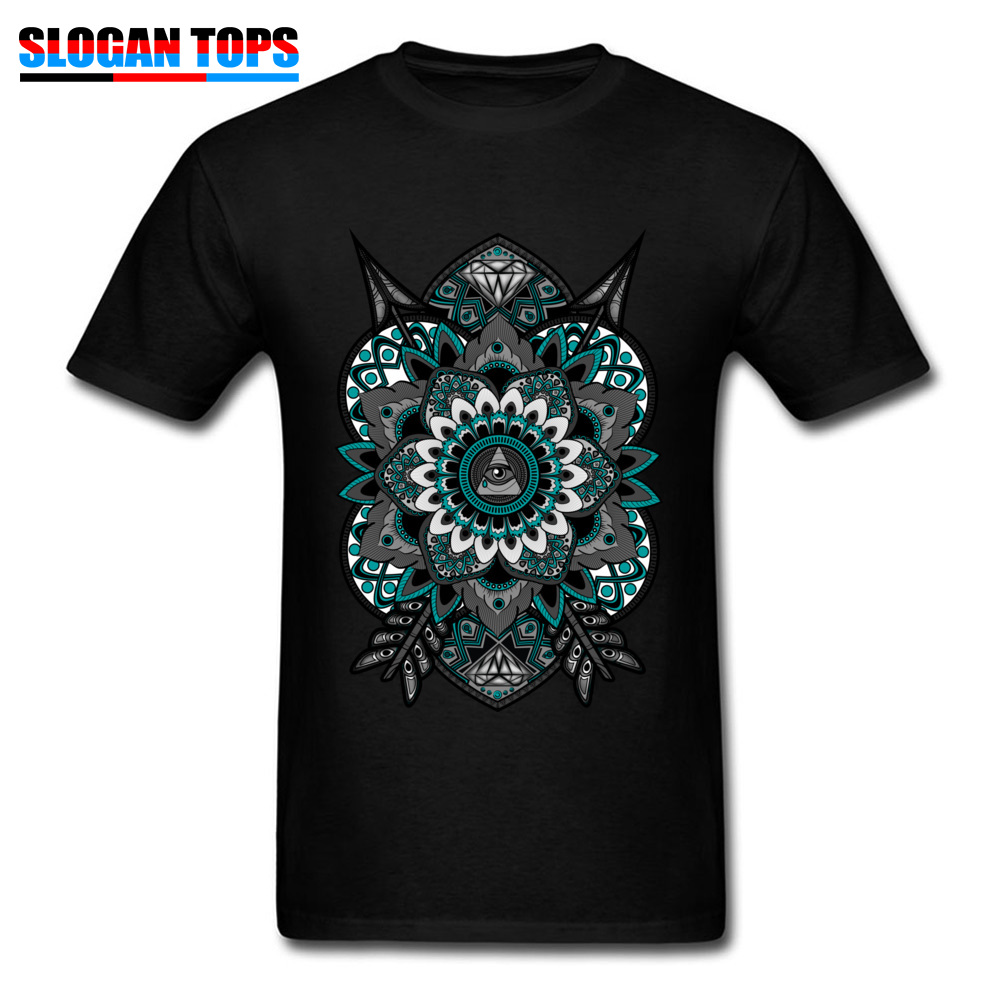 2018 Cotton T-shirt Men Mandala Tshirt Illuminati Flower Of Life Tops Geometric Art Designer Clothes Black Vintage Tees O Neck
