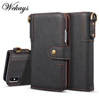 Wekays For Iphone X Luxury Black Business Leather Flip Case SFor Apple Iphone 5 5s SE