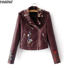YAGENZ Spring Women Leather Jacket Short Coat Embroidery PU Water Washed Motorcycles Leather Outerwear Fashion Slim