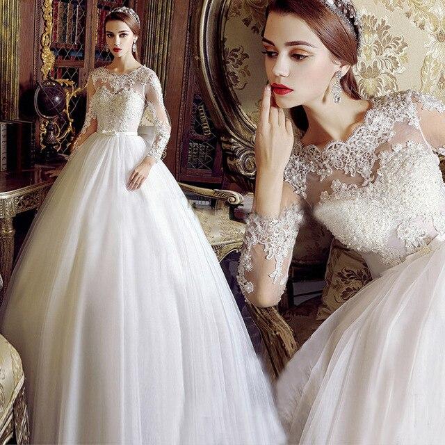 Vintage Long Sleeve Lace Wedding Dresses Ball Gown Princess Wedding ...