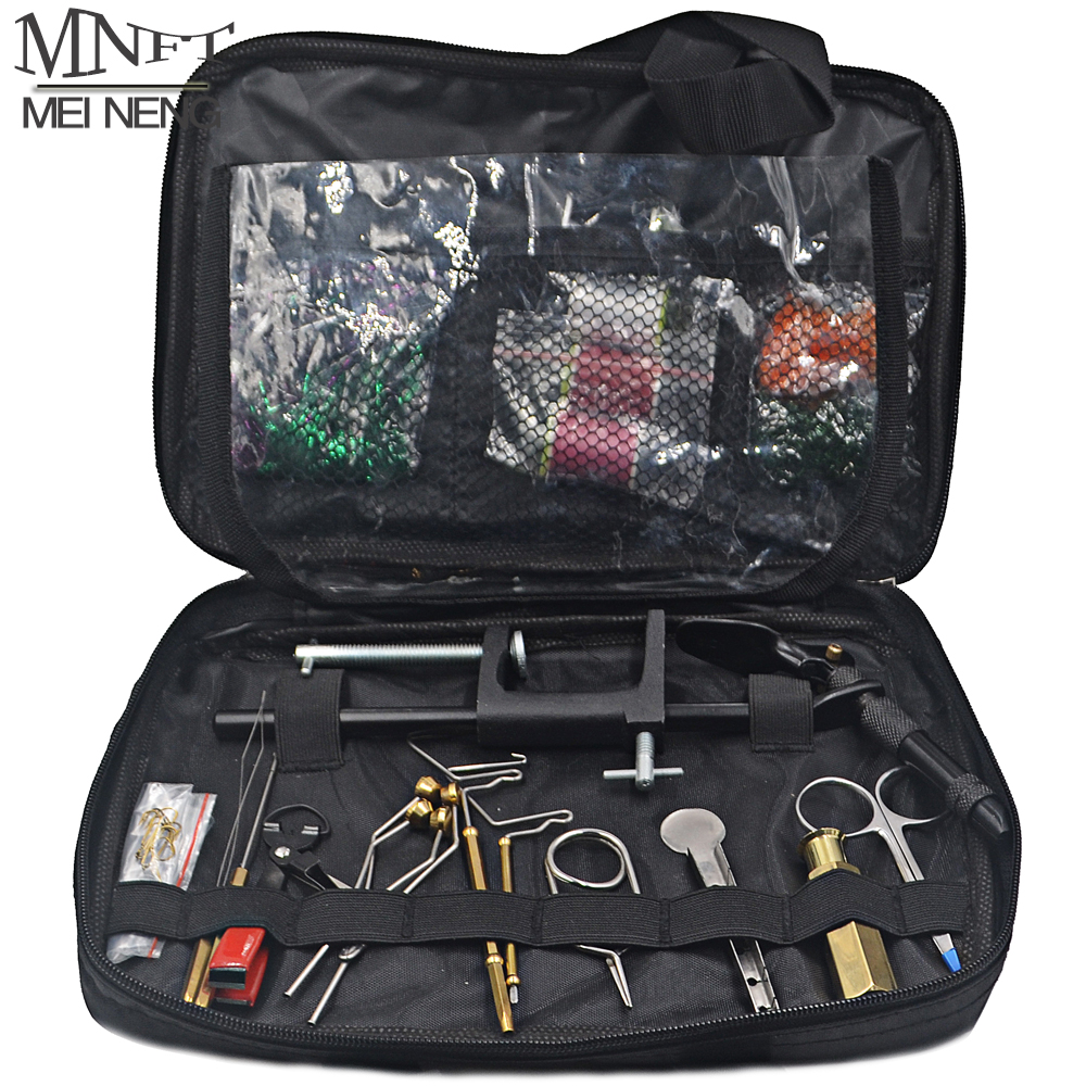 MNFT 1 Set Fly Fishing Fly Tying Tools Kit in Portable Pack Bag Including Vise bobbin