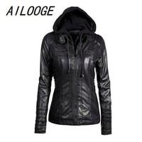 AILOOGE 2018 New Hoodie Leather Jacket Women Black Leather Hooded Jacket Front Pocket Slim Fit Ladies