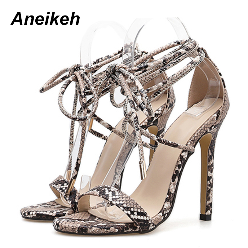 Aneikeh Fashion 2019 Summer Women s Sandals PU Lace Up Thin High Heels Cover Heel Shallow Aneikeh Fashion 2019 Summer Women's Sandals PU Lace-Up Thin High Heels Cover Heel Shallow Mature Serpentine Dance Solid 35-40