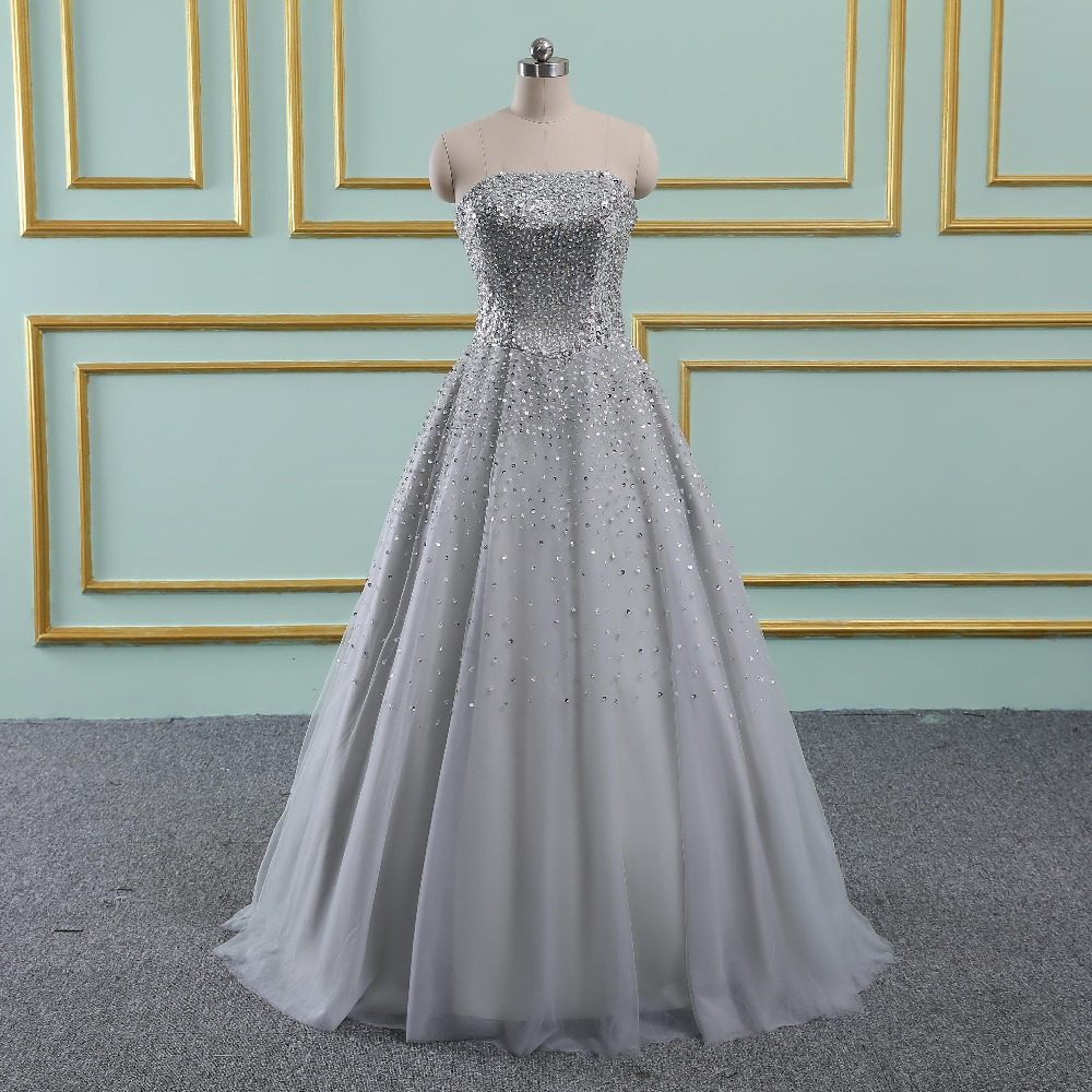 Vinca sunny Silver Real Sample Ball gown Beaded Puffy Tulle Special occasion long sexy   prom     dresses   2019 new arrival