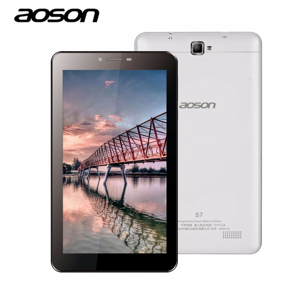 AOSON S7 7 inch 3G Unlocked Smart phone Tablet PC Android 6.0 MTK8321 8GB Quad Core IPS 1024*600 1G+8G GPS Bluetooth SIM CARD car charger for tablet pc cube u10gt u10gt2 aoson m19 more black dc 9v