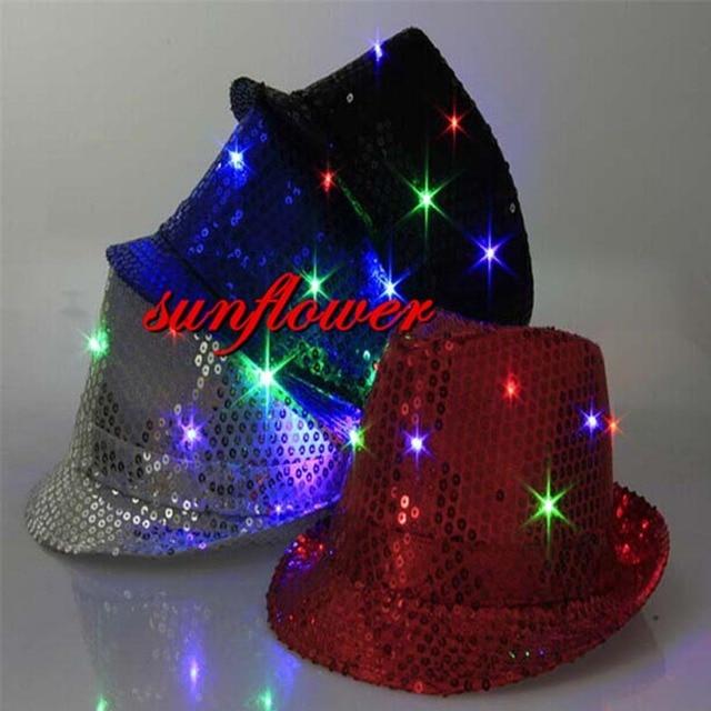cc911db618a6f Woman Man Fedora LED Flashing Sequins Light Up Jazz Cap Hip Hop Hat Party Hats  Cap Glow Party Wedding Decoration Halloween