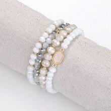 Joolim ювелирные изделия оптом/6 цветов натуральный камень бисера эластичный многослойный браслет массивный браслет для женщин