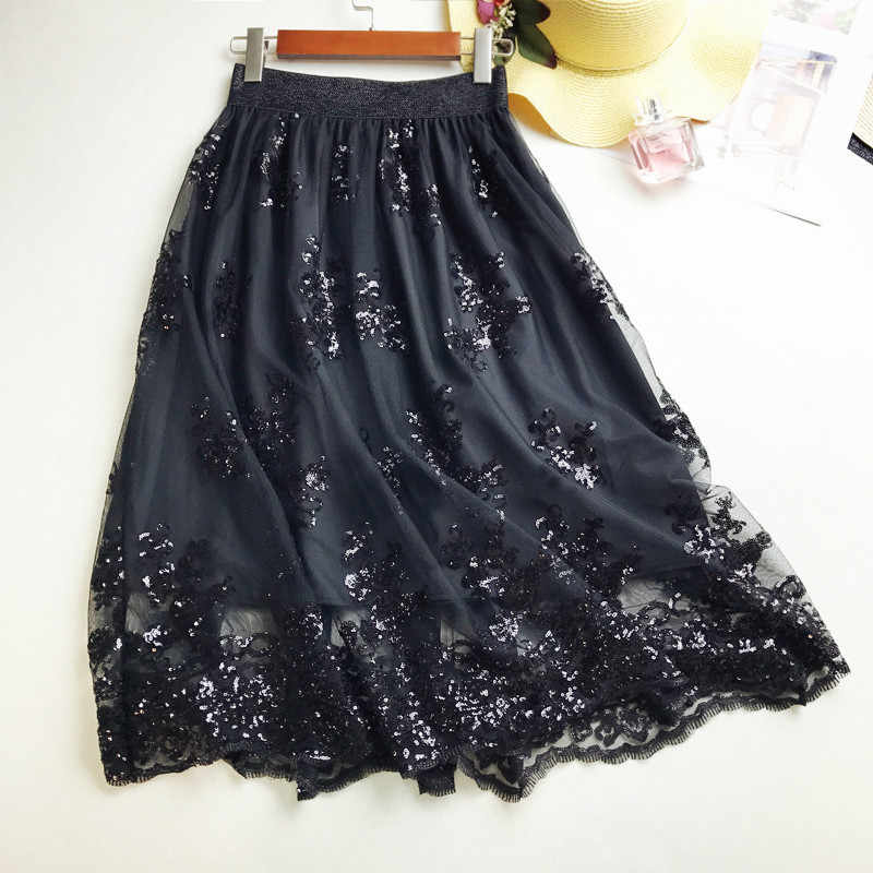 3d5bec1bd 2018 Mesh Embroidery Flowers Skirts Summer Women Elastic Force Black Sequin  Lace Sexy Splicing High Waist