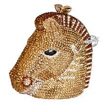 Tier pferdekopf Clutch abendtasche Luxus kristall frauen handtaschen Gold partei taschen hochzeit pochette braut SC026
