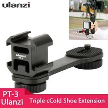 Ulanzi PT 3 Triple Hot Shoe Adattatore di Montaggio del Microfono Barra di Estensione per Zhiyun Liscia 4 DJI Osmo Tasca Giunto Cardanico Accessori