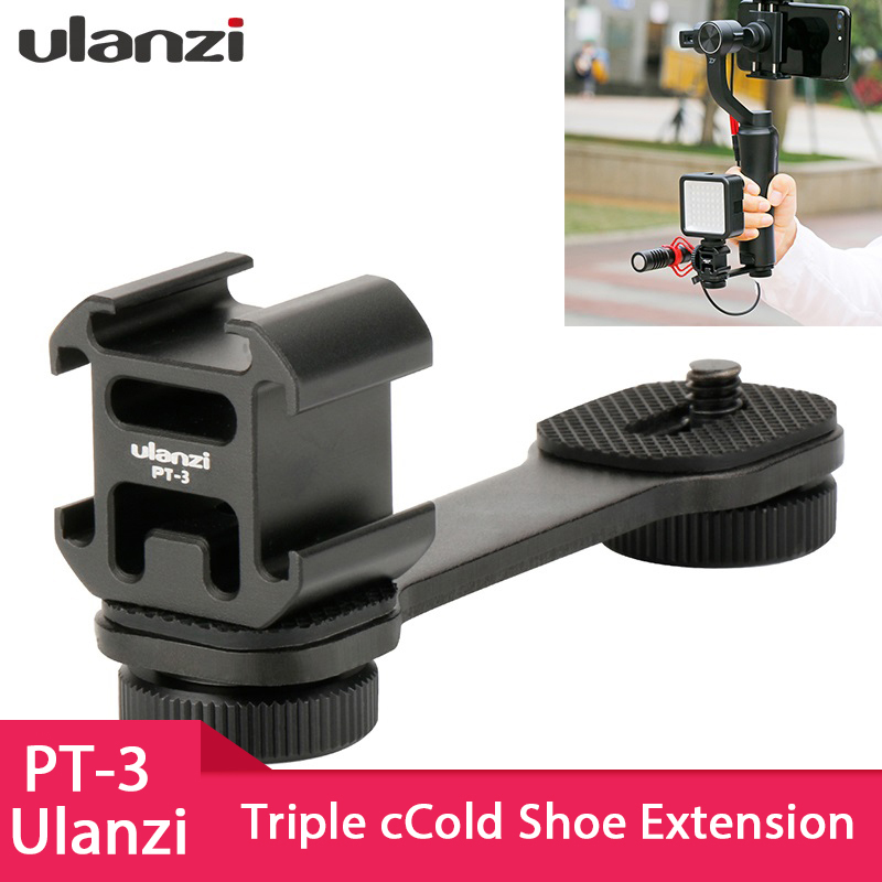 Ulanzi PT-3 Triple Hot Shoe Mount Adapter Microphone Extension Bar For Zhiyun Smooth 4 DJI Osmo Pocket Gimbal Accessories