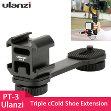 Ulanzi PT 3 Triple Hot Shoe Mount Adapter Microphone Extension Bar for Zhiyun Smooth 4 DJI Osmo Pocket Gimbal Accessories
