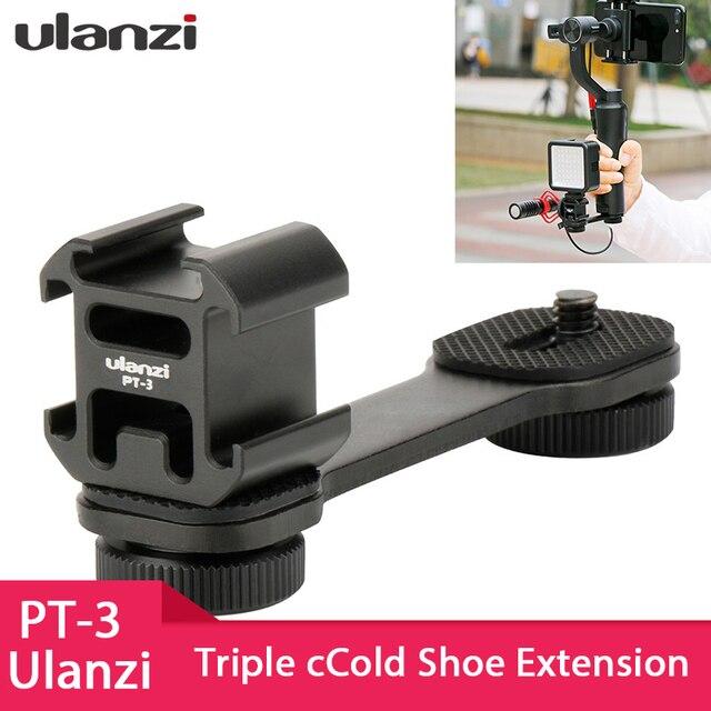 Ulanzi PT-3 Triplo Hot Shoe Adaptador de Montagem Barra de Extensão para Microfone para Zhiyun Suave 4 Osmo Bolso Acessórios Cardan DJI