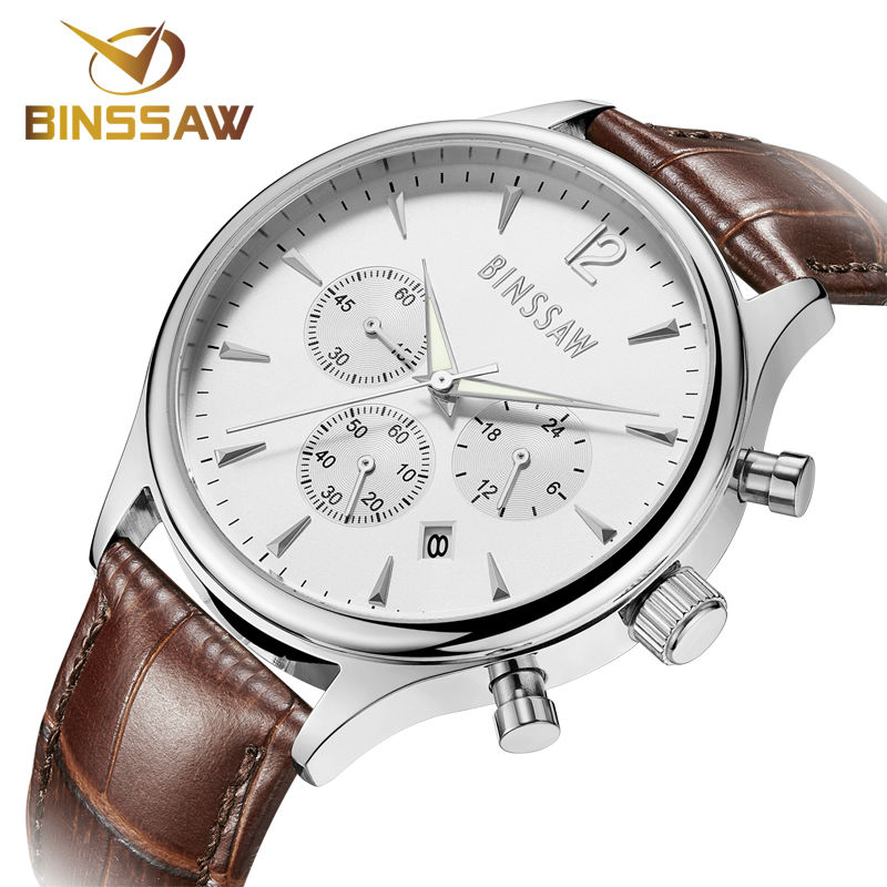 BINSSAW 2017 new men watch luxury brand Fashion Casual 100M leather super luminescent gold quartz-watch Sports wrist watches