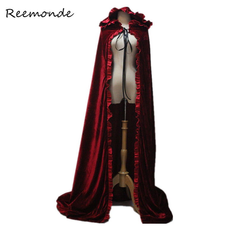 Adult Witch Long Winter Red Black Velvet Cloaks Cosplay Costumes Snow White Princess Hood And Capes For Women Girls Halloween