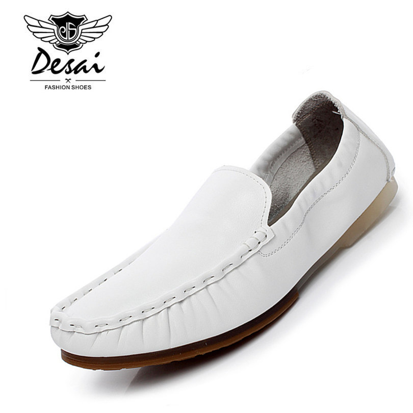 DESAI Brand 100% Nature Cow Leather Men Loafers Super Soft Comfortable Handmade Men Driving Flats Shoes White Black cbjsho brand men shoes 2017 new genuine leather moccasins comfortable men loafers luxury men s flats men casual shoes