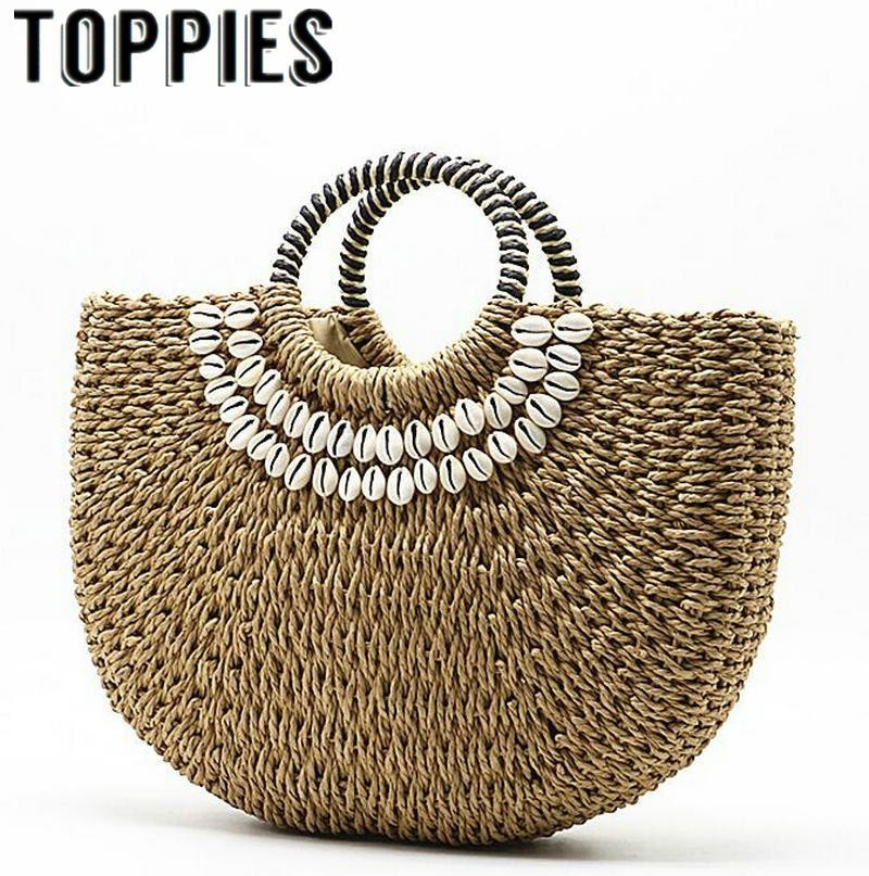 Toppies Summer New Arrival Straw Moon Bag 2019 Summer Trendy Sea Shell Beach Style Handmade Straw Bags Bali BagToppies Summer New Arrival Straw Moon Bag 2019 Summer Trendy Sea Shell Beach Style Handmade Straw Bags Bali Bag