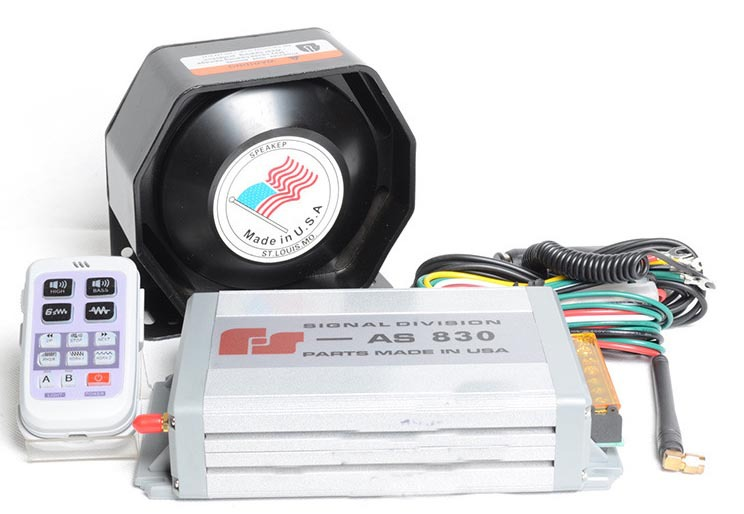 ФОТО Police Siren 200W Car Alarm Siren Horn AS830 11 Sounds Wireless Loudspeaker Police Horn Car Alarm Waterproof Metal Slim Speaker