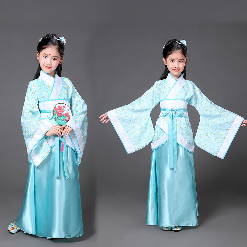 цены Ancient Chinese Costume Kids Child Seven Fairy Hanfu Dress Clothing Dance Performance Traditional Dress Girl tang dynasty dress