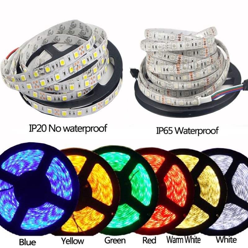 5M 300Leds waterproof RGB Led Strip Light 5050 DC12V 60Leds/M flexible Light Led Ribbon Tape Home Decoration Lamp