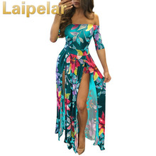 Women Dress 2018 Summer Long Maxi Dress Women Floral Print Dress Ankle-Length High Slit Bohemian Dress Female Plus Size Laipelar random floral print maxi dress with slit design