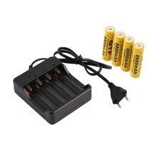 In stock! 4Pcs18650 3.7V 9800mAh Li-ion Rechargeable Battery+EU Smart Charger Indicator EU plug