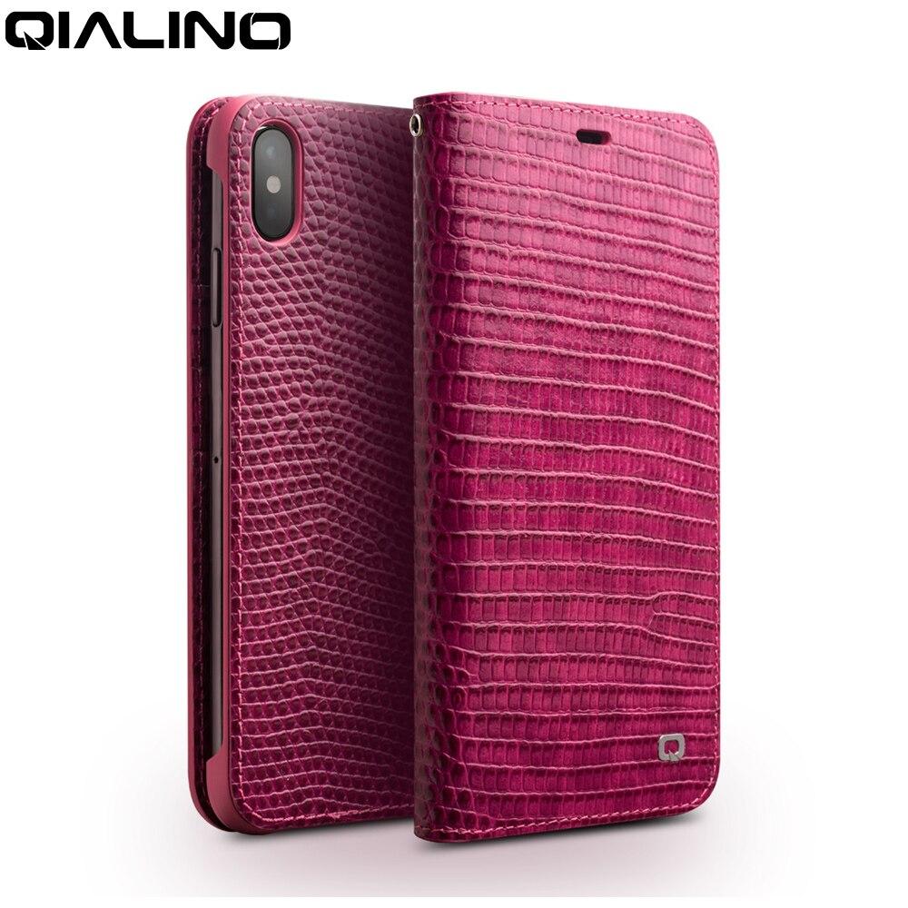 QIALINO из натуральной кожи чехол для iPhone X/XS/XR Модные Роскошные ручной работы Для женщин для сумки с отделением для карт с откидной крышкой для iPhone XS Max