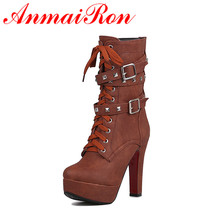 ANMAIRONWomen Mid-calf Boots for Women Winter Warm Boots Rivets Lace-Up Zip Buckle Slip-On Large Size Platform Boots Shoes Woman цены