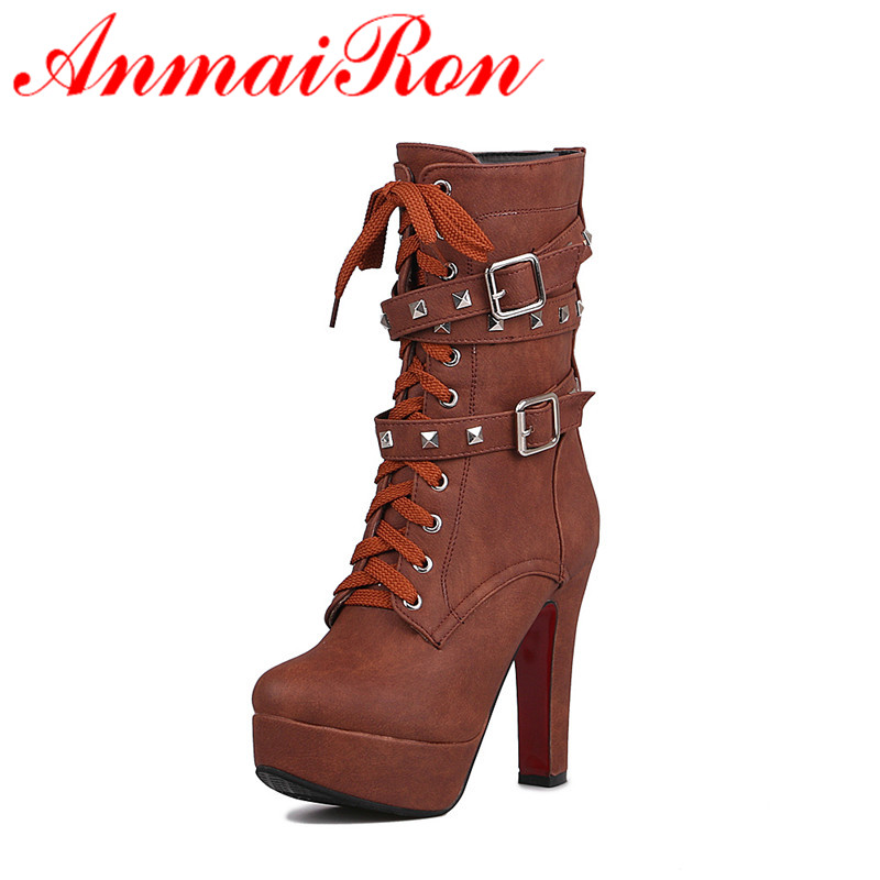 ANMAIRONWomen Mid calf Boots for Women Winter Warm Boots Rivets Lace Up Zip Buckle Slip On Large Size Platform Boots Shoes Woman