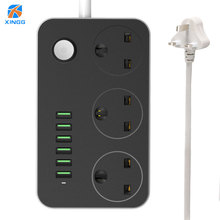 Safety Fire-retardant FUSE 10A UK Power Strip Socket Fast Charging 6 USB 3 Sockets Plug Interface Extension Outlet With 2M Cable